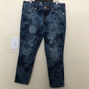 Mossimo Dark Blue Floral Skinny Crop Jeans